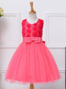 Scoop Sleeveless Pageant Gowns Knee Length Bowknot Hot Pink Tulle