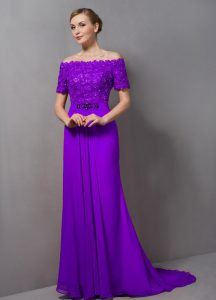 Eggplant Purple Chiffon Zipper Off The Shoulder Short Sleeves Pageant Dress Womens Sweep Train Lace