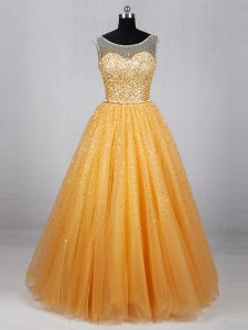 Sleeveless Lace Up Floor Length Beading and Sequins Pageant Dress for Teens