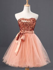 Custom Made Mini Length Peach Pageant Dresses Sweetheart Sleeveless Zipper