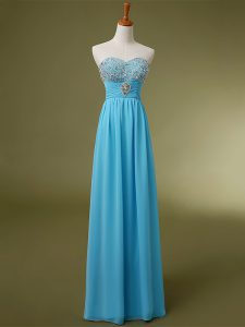 Shining Baby Blue Sleeveless Beading and Ruching Floor Length Pageant Gowns