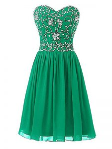 Attractive Green Sleeveless Chiffon Zipper Pageant Dresses for Prom and Party and Sweet 16 and Beach