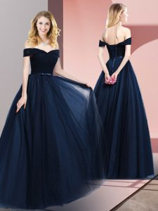 Perfect Navy Blue Tulle Lace Up Off The Shoulder Sleeveless Floor Length Evening Gowns Beading and Ruching and Belt