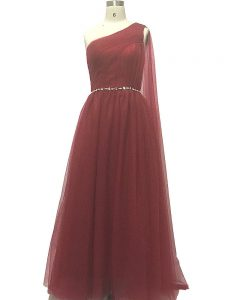 Burgundy A-line Chiffon One Shoulder Sleeveless Beading and Pleated Zipper Evening Gowns Sweep Train