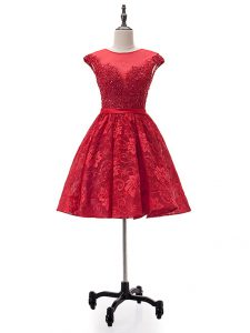 Ideal Red A-line Lace Sweetheart Sleeveless Beading and Appliques Mini Length Lace Up Pageant Dress