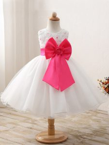 White Sleeveless Organza Zipper Pageant Dress for Teens for Wedding Party