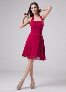 Sleeveless Chiffon Knee Length Zipper Pageant Dress Wholesale in Fuchsia with Ruching
