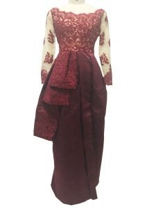 On Sale Burgundy Zipper Pageant Dress Toddler Lace and Appliques Long Sleeves Floor Length
