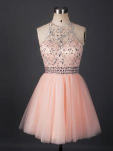 Beautiful Mini Length Lace Up Pageant Dress for Teens Peach for Prom and Party and Military Ball and Sweet 16 with Beading