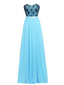 Aqua Blue Empire Chiffon Sweetheart Sleeveless Lace and Appliques Floor Length Zipper Pageant Gowns