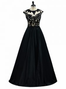 Captivating Black Taffeta Backless Pageant Dress Wholesale Sleeveless Floor Length Beading and Lace and Embroidery