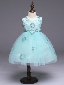 Charming Apple Green Flower Girl Dresses Wedding Party with Appliques and Bowknot Scoop Sleeveless Zipper