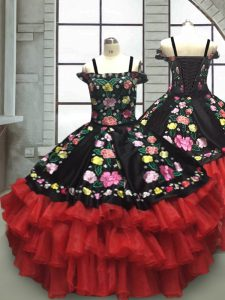 Red And Black Sleeveless Embroidery and Ruffled Layers Floor Length Custom Made Pageant Dress