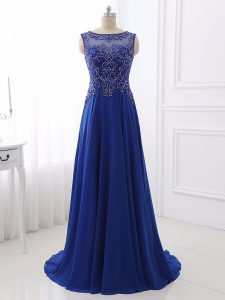Top Selling Royal Blue Bateau Neckline Beading Custom Made Pageant Dress Sleeveless Side Zipper