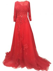 Red Zipper Bateau Lace and Appliques and Belt Pageant Dress for Teens Tulle Long Sleeves Brush Train
