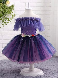 Cheap Off The Shoulder Short Sleeves Lace Up Winning Pageant Gowns Purple Tulle