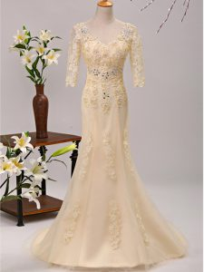 V-neck 3 4 Length Sleeve Winning Pageant Gowns Brush Train Beading and Lace and Appliques Champagne Tulle