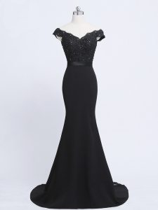 Black Zipper V-neck Lace and Appliques and Belt Pageant Dress Toddler Chiffon and Tulle Sleeveless Brush Train