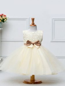 Sleeveless Tulle Knee Length Zipper Glitz Pageant Dress in Champagne with Lace and Bowknot