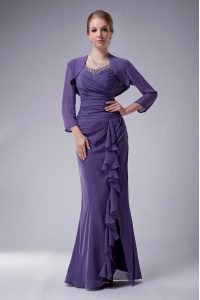 Floor Length Purple Pageant Dress for Teens Chiffon Sleeveless Beading