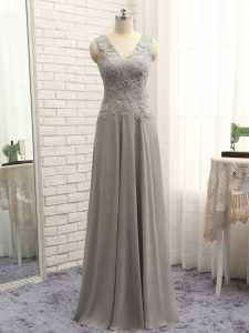 Extravagant Grey Chiffon Zipper High School Pageant Dress Sleeveless Floor Length Lace and Appliques