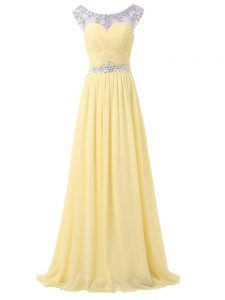 Latest Light Yellow Chiffon Backless Scoop Sleeveless Floor Length Pageant Dress Toddler Beading and Ruching