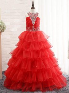 Best Red High School Pageant Dress Wedding Party with Beading and Ruffled Layers Halter Top Sleeveless Lace Up