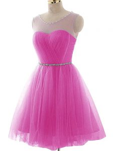 Chic Sleeveless Mini Length Beading and Ruching Lace Up Pageant Dress Womens with Fuchsia