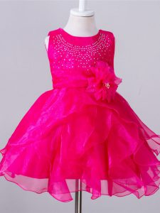 Trendy Organza Scoop Sleeveless Zipper Beading and Hand Made Flower Pageant Dress for Girls in Hot Pink