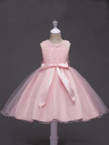 Baby Pink Ball Gowns Tulle Scoop Sleeveless Lace and Belt Knee Length Zipper Flower Girl Dresses