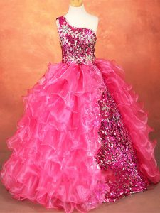Hot Pink Ball Gowns Beading and Ruffles and Sequins Evening Gowns Lace Up Organza Sleeveless Floor Length
