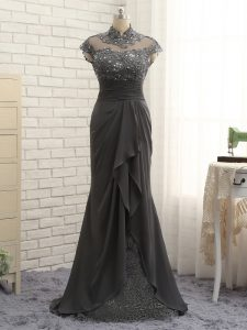 Affordable Black Column/Sheath Lace and Ruching Pageant Dress Toddler Zipper Chiffon Cap Sleeves Floor Length