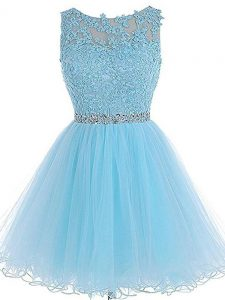 Baby Blue Sleeveless Tulle Zipper Pageant Dress for Womens for Prom and Party and Sweet 16