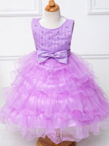 Tea Length Zipper Winning Pageant Gowns Lilac for Wedding Party with Ruffled Layers and Bowknot