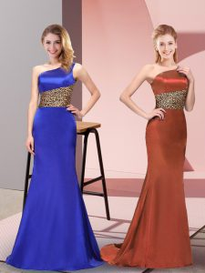 Decent Floor Length Royal Blue Evening Gowns Elastic Woven Satin Sleeveless Pattern