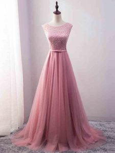 Top Selling Pink Tulle Zipper Scoop Sleeveless Pageant Dress Wholesale Brush Train Beading and Belt