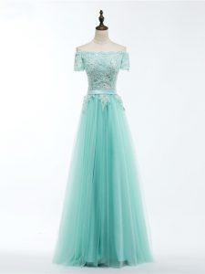 Deluxe Apple Green Tulle Lace Up Scalloped Short Sleeves Floor Length Pageant Dresses Lace and Appliques