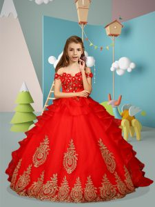 Gorgeous Sleeveless Floor Length Appliques and Embroidery Lace Up Pageant Dress with Red