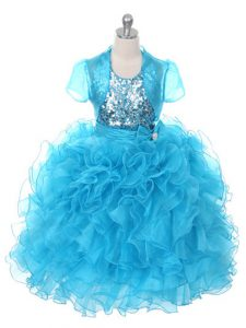 Amazing Baby Blue Sleeveless Ruffles and Sequins and Bowknot Floor Length Evening Gowns