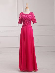 Hot Pink Empire Lace and Appliques Custom Made Pageant Dress Zipper Chiffon Half Sleeves Floor Length