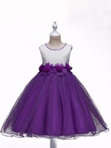 Wonderful Sleeveless Lace and Hand Made Flower Zipper Flower Girl Dresses
