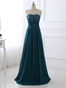 Elegant Teal Zipper Pageant Dress Womens Sequins and Ruching Sleeveless Floor Length