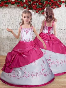 On Sale Hot Pink Taffeta Lace Up Pageant Dress for Teens Sleeveless Floor Length Embroidery