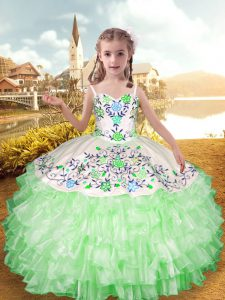 Dramatic Apple Green Straps Lace Up Embroidery and Ruffled Layers Pageant Dresses Sleeveless