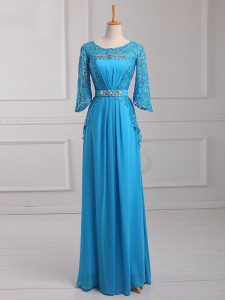 Baby Blue Empire Beading and Lace and Belt Pageant Dress Womens Zipper Chiffon 3 4 Length Sleeve Floor Length