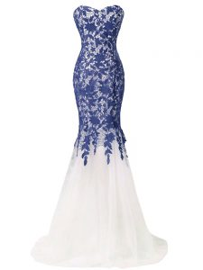 Brush Train Mermaid Pageant Gowns Blue And White Sweetheart Tulle Sleeveless Lace Up