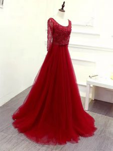 Most Popular Wine Red Empire Beading and Lace and Belt Pageant Dress Wholesale Zipper Tulle Long Sleeves