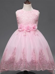 Baby Pink Ball Gowns Lace and Appliques and Bowknot and Hand Made Flower Pageant Dress for Teens Zipper Tulle Sleeveless High Low