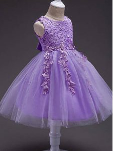 Ball Gowns Pageant Gowns Lavender Scoop Tulle Sleeveless Knee Length Zipper