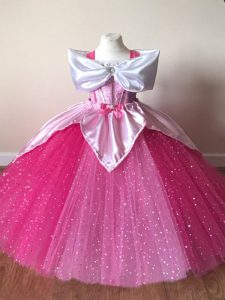 Sequins Toddler Flower Girl Dress Fuchsia Zipper Short Sleeves Floor Length